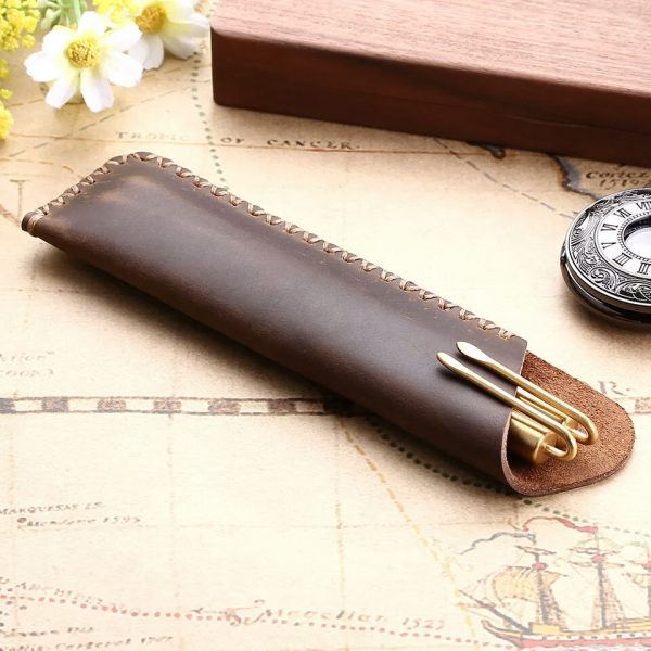 genuine leather pen pouch